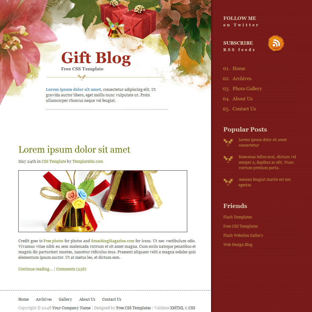 Free Template 175 Gift Blog
