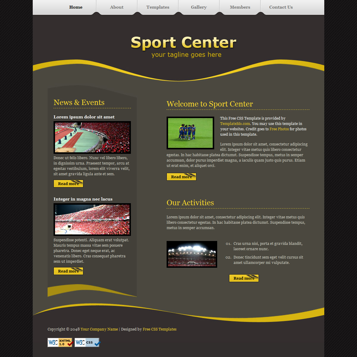 templatemo 182 sport center