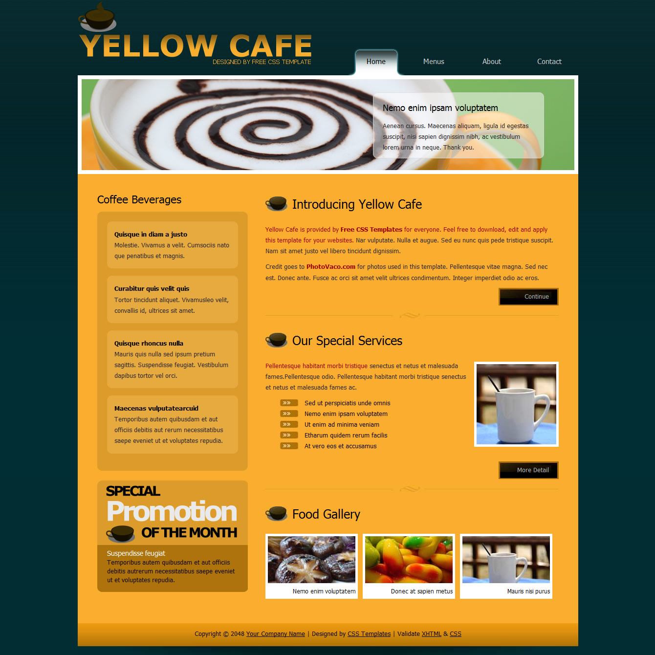 templatemo 259 yellow cafe