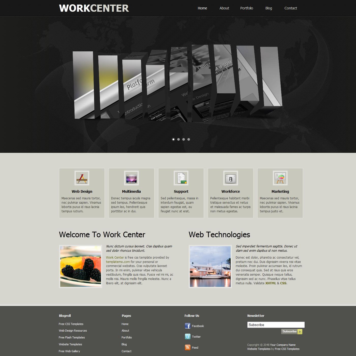 Dreamweaver Templates | Free Template 355 Work Center