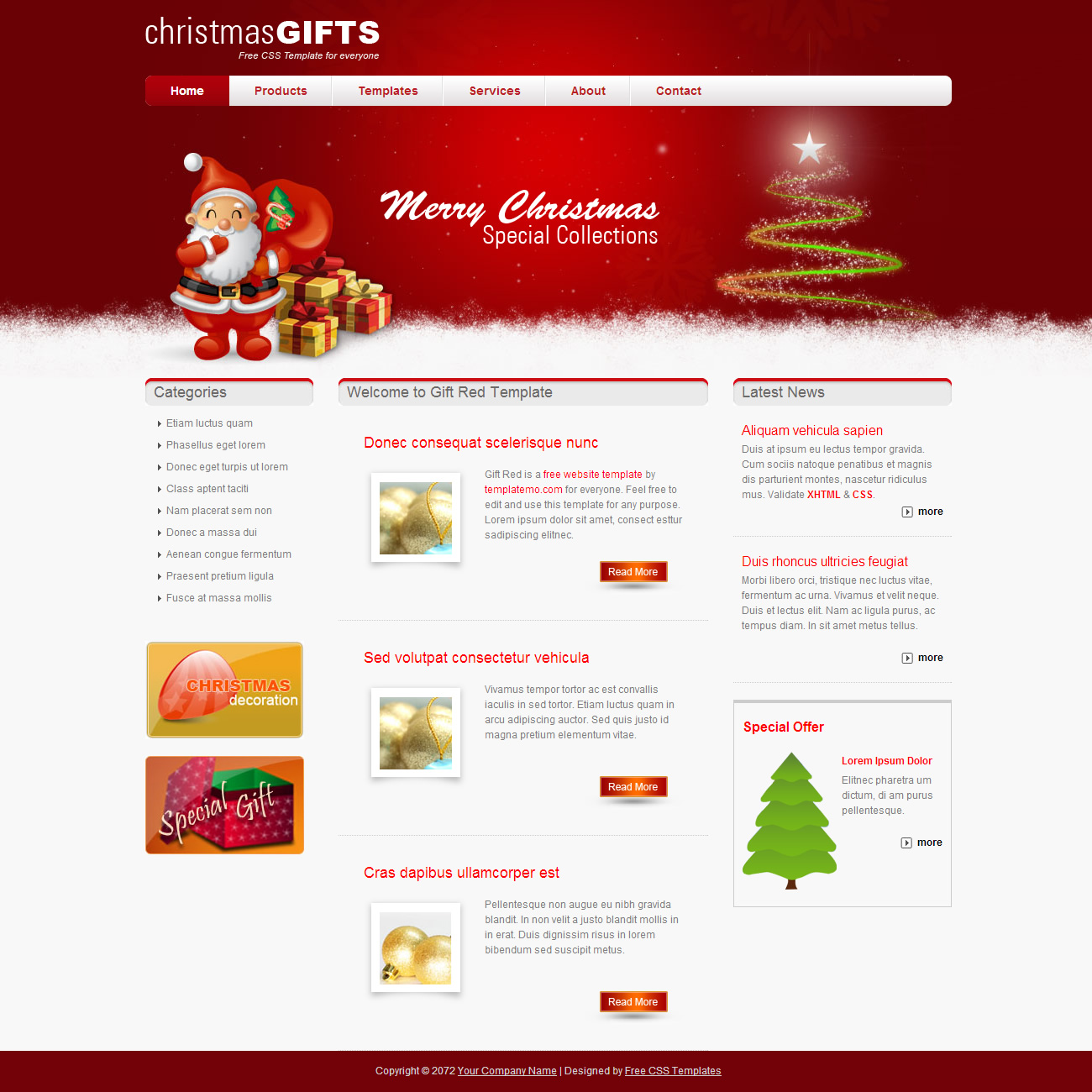 free template 362 gift red