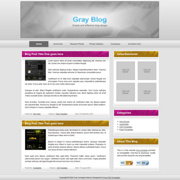 Gray Blog Template