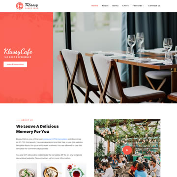 Klassy Cafe Template